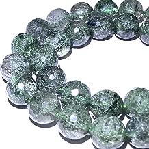 [ABCgems] Brazilian Green Actinolated Quartz AKA Moss Rutilated Quartz (Beautiful Inclusions) 10mm Faceted Round Beads