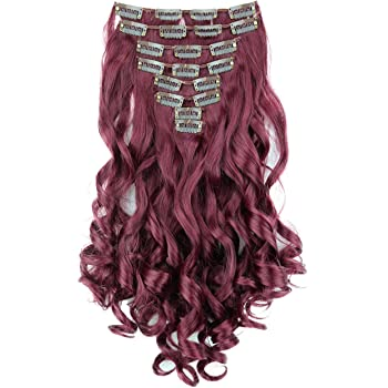"""PRETTYSHOP XXL Full Head Set 8 pcs 20"""" Clip In Hair Extensions Hairpiece Wavy Heat-Resisting burgundy red #burg CES117-1"""