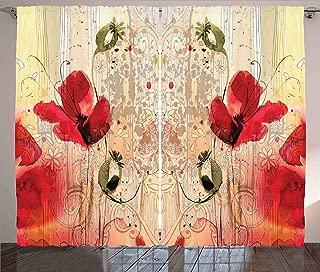 Ambesonne Flower Curtains, Red Poppy Flower Paint Brush Effect Beige Floral Design Digital Art Print, Living Room Bedroom Window Drapes 2 Panel Set, 108
