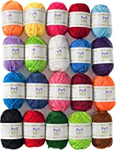 Mira Handcrafts 20 Acrylic Yarn Bonbons - 438 Yards Multicolor Yarn in Total – Great Crochet and Knitting Starter Kit for Colorful Craft – Assorted Colors - 7 PDF Ebooks with Yarn Patterns