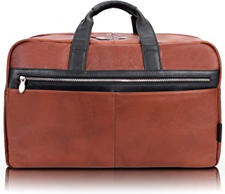 "McKlein Wellington, Pebble Grain Calfskin Leather, 21"" Two-Tone, Dual-Compartment, Laptop & Tablet Carry-All Duffel, Brown (19110)"