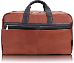"""McKlein Wellington, Pebble Grain Calfskin Leather, 21"""" Two-Tone, Dual-Compartment, Laptop & Tablet Carry-All Duffel, Brown (19110)"""