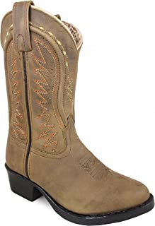 Smoky Mountain Children's Sienna Stitched Pull On Straps Narrow Round Toe Tan Western Boots