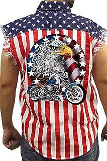 Men's USA Flag Sleeveless Denim Shirt Red White & Bold Eagle Biker