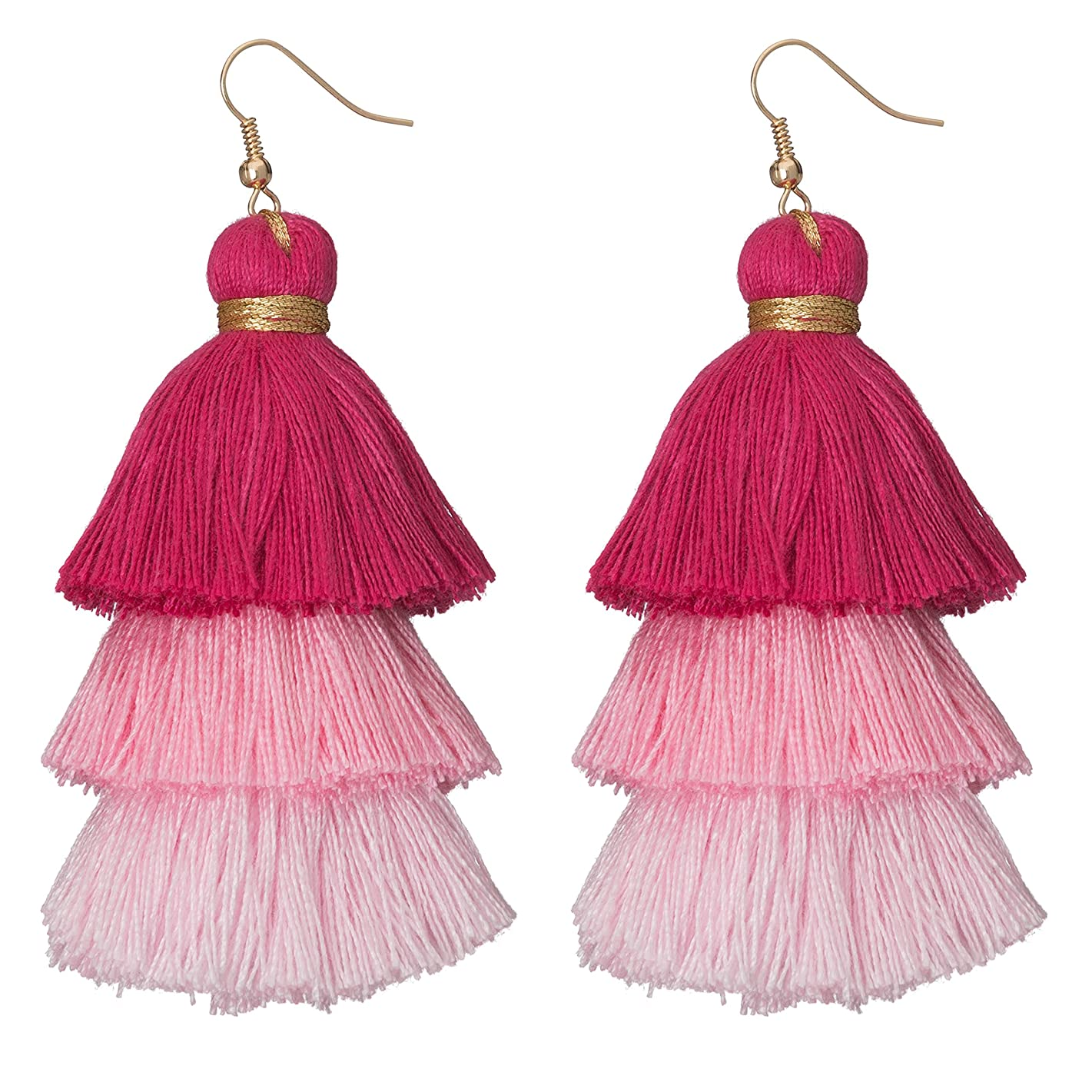 Occasionally Made Ombre Tassel Earrings, Pink