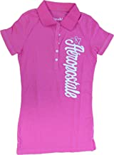 Aeropostale Women's Polo Shirt Vertical Script Embroidered Logo Medium Pink