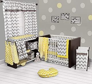 Bacati - Yellow/grey Ikat Chevron Muslin 10 Pc Crib Set with Bumper Pad