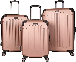 """Kenneth Cole Reaction Renegade 8-Wheel Hardside Expandable 3-Piece Set: 20"""" Carry-On, 24"""", 28"""" Luggage, Rose Gold"""