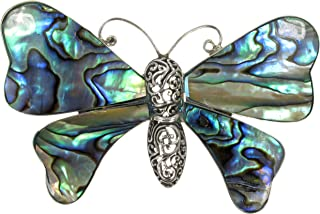 925 Antiqued (Oxidized) Sterling Silver Paua Shell (Abalone) Inlay Butterfly Brooch (Pin)