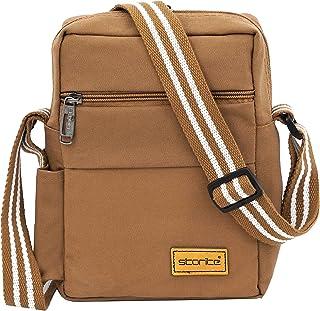 Storite Stylish Canvas Sling Cross Body Travel Office Business Messenger Bag for Men Women (25.5x18.5x8 cm, Brown)