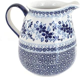 Blue Rose Polish Pottery Vintage Blue Daisy Pitcher