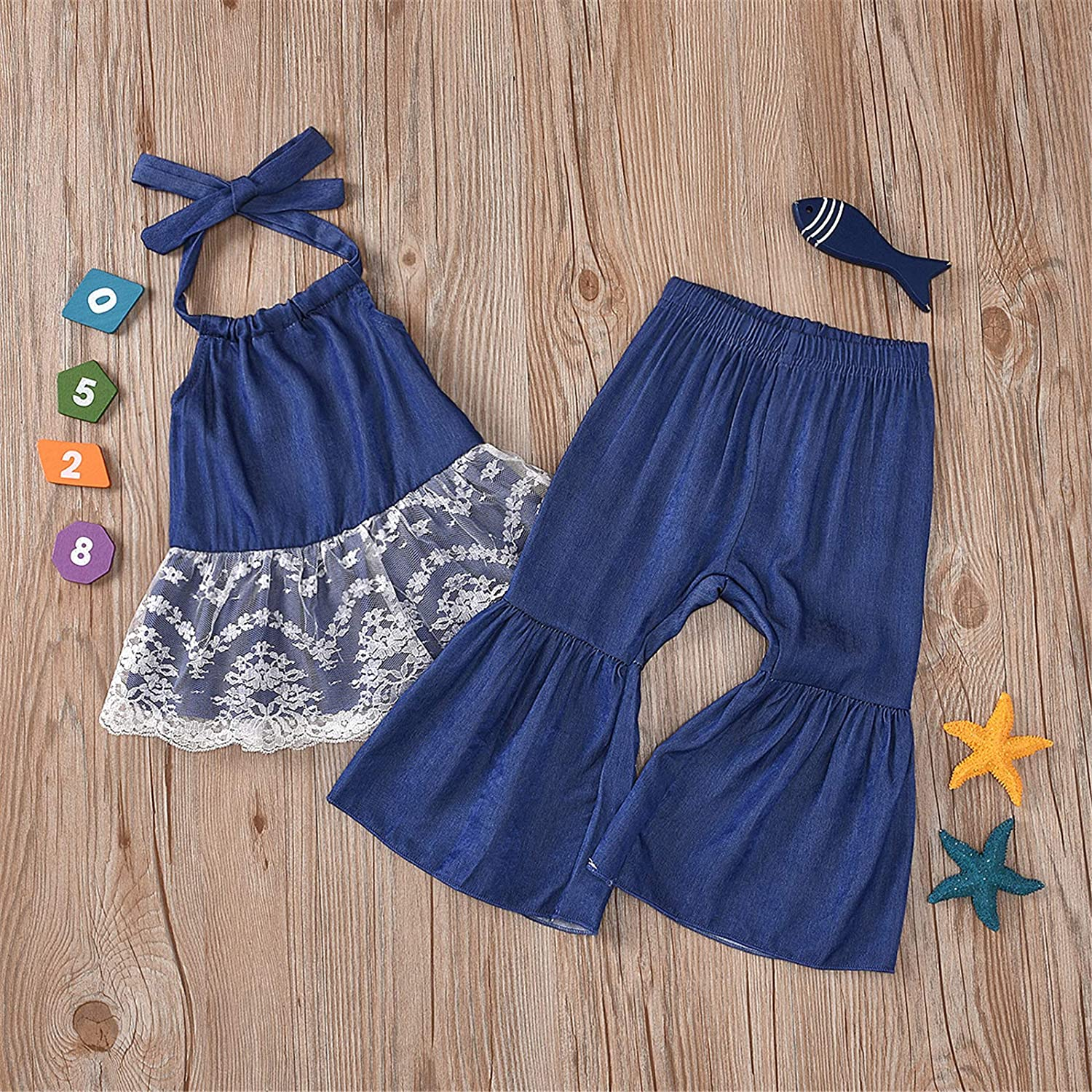 Toddler Baby Girl Clothes Short Sleeve/Sleeveless Top Shirt Bell Bottom Leopard/Jeans Pants Summer Outfits