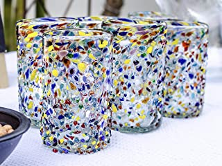 Mexican Blown Glass Drinking Glasses Confetti Colorful Glassware Unique Recycled Glass Multi Color Hand Blown. Set of Six 14 Oz.