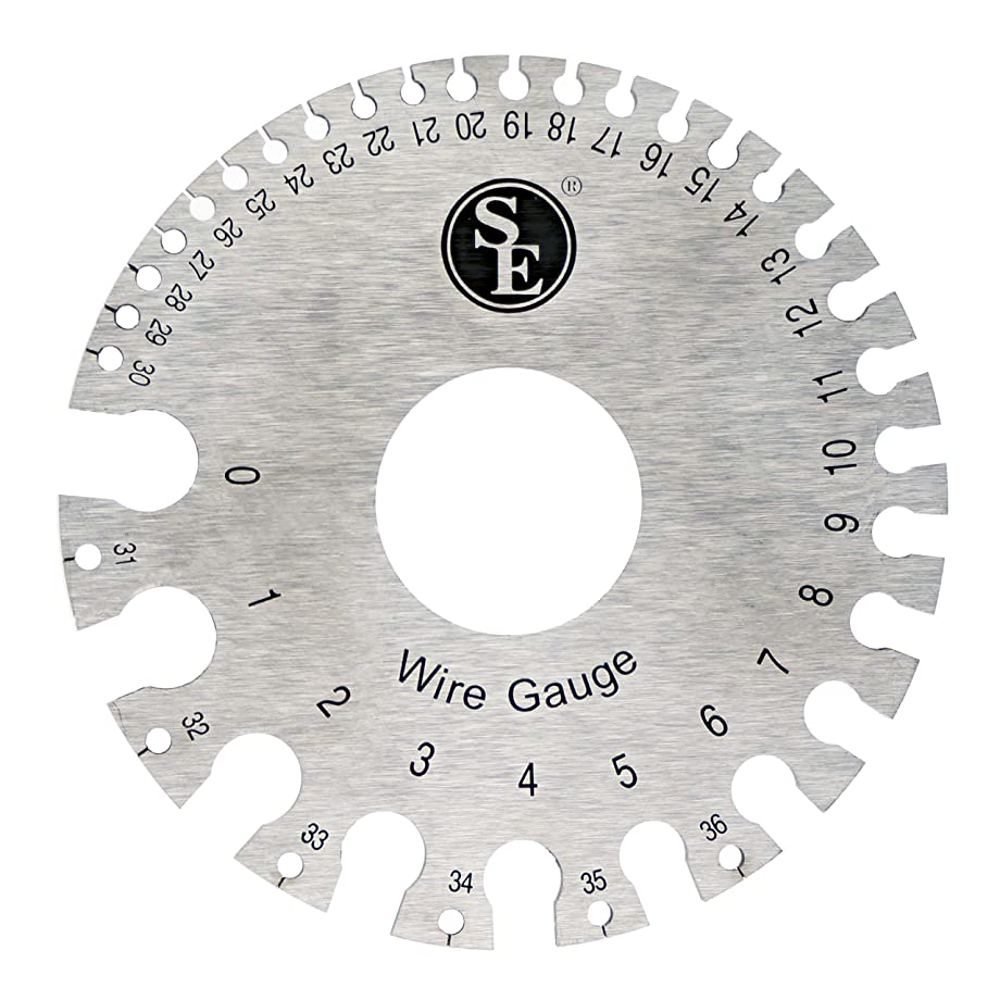 SE JT47WG-C Dual-Sided Non-Ferrous Wire Gauge, 0-36 American Standard (AWG) and SAE