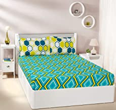 Amazon Brand - Solimo Tranquil Dreams 144 TC 100% Cotton Double Bedsheet with 2 Pillow Covers, Blue