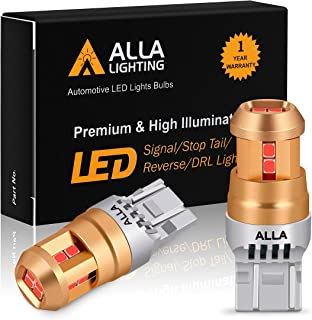 Alla Lighting Miniature T20 Wedge 7440 7443 LED Bulbs, Pure Red Super Bright 12V Turn Signal, Brake Tail Lights SMD Replac...