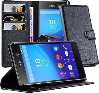 Cadorabo Funda Libro para Sony Xperia M5 en Negro Fantasma – Cubierta Proteccíon con Cierre Magnético, Tarjetero y Función de Suporte – Etui Case Cover Carcasa