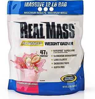 Gaspari Nutrition Real Mass Advanced Weight Gainer, Strawberry Milkshake, 12 Pound