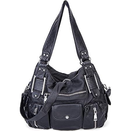 Große Damenhandtasche PU Leder Schultertasche Umhängetasche Crossbody Reisetasche für Frauen Mädchen - Schwarz