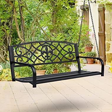 Outsunny Steel Fleur-de-Lis Design Outdoor Porch Swing Seat Bench with Chains for The Yard, Deck, & Backyard, Black