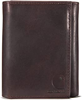Carhartt Men's Standard Top Grain Leather Trifold, Contrasting Stitch