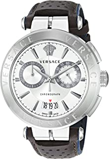 Versace Men's Aion Chrono Stainless Steel Quartz Leather Calfskin Strap, Black, 24 Casual Watch (Model: VBR010017)