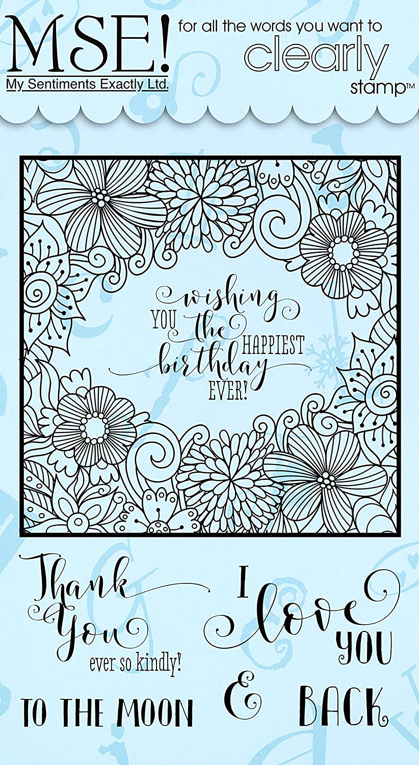 MSE  Y602 My Sentiments Exactly  Quick coloring Frame Clear Stamp Set, 6  L x 4  W