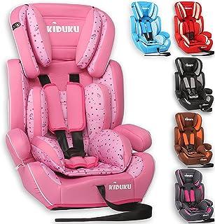 KIDUKU® Silla de coche, crece con el niño, 9 kg-36 kg (1-12 años), Grupo 1/2/3 (Rosa)