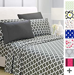American Home Collection Deluxe 6 Piece Printed Sheet Set of Brushed Fabric, Deep Pocket Wrinkle Resistant - Hypoallergenic (King, Gray Quatrefoil)