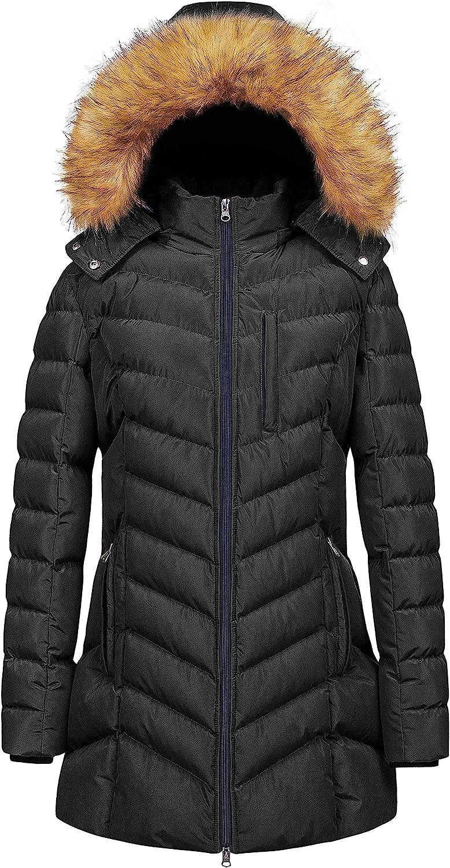 CREATMO US Women's Winter Hooded Coat Waterproof Warm Long Puffer Jacket Parka