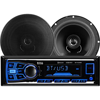 BOSS Audio Systems 638BCK Car Stereo Package - Single Din, Bluetooth, - no CD DVD MP3 USB WMA AM FM Radio, 6.5 Inch 2 Way Full Range Speakers