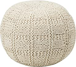 Christopher Knight Home Valentine Hand Knit Fabric Pouf (Ivory)