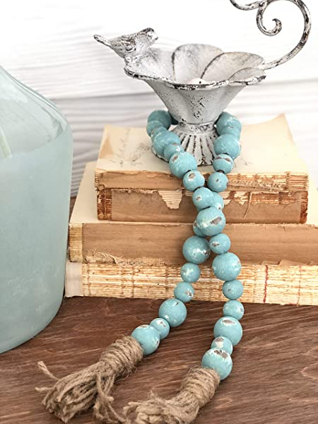 Turquoise Chippy Farmhouse Beads Wood Bead Garland Home Decor Beads