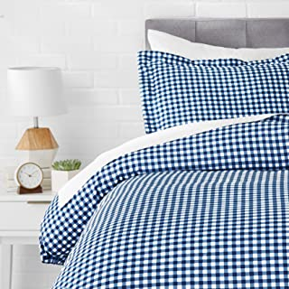 AmazonBasics Light-Weight Microfiber Duvet Cover Set - Twin/Twin XL, Gingham Plaid