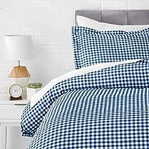AmazonBasics Microfiber 2-Piece Quilt/Duvet/Comforter Cover Set - Single, Gingham Plaid