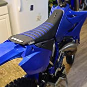 White Top Pleated Seat Cover Enjoy MFG 1996-2001 Yamaha YZ 125//250 Blue Sides