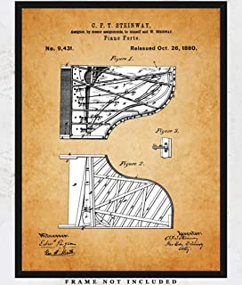 Vintage Steinway Piano Patent Wall Art Prints Unique Room Decor for Boys, Girls, Men & Women - (11x14) Unframed Picture - Great Gift Idea Under $15