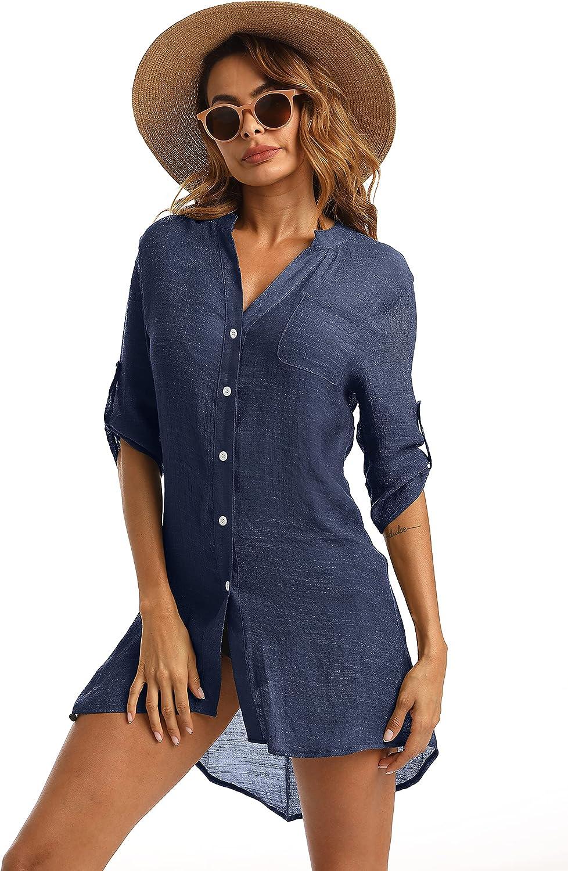 Eilshoji Swimsuit Cover Ups for Women, Bathing Suit Bikini Button Down Long Shirt Beach Coverups for Women Swimwear