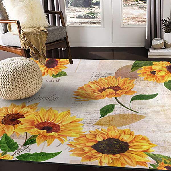 ALAZA Vintage Sunflower Butterfly Oil Painting Artwork Area Rug Rugs For Living Room Bedroom 7 X 5
