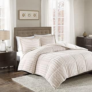 Madison Park Duke Faux Fur Plush Bedding 3 Piece Comforter Set Super Soft and Cozy Warm, King/Cal King, Champagne