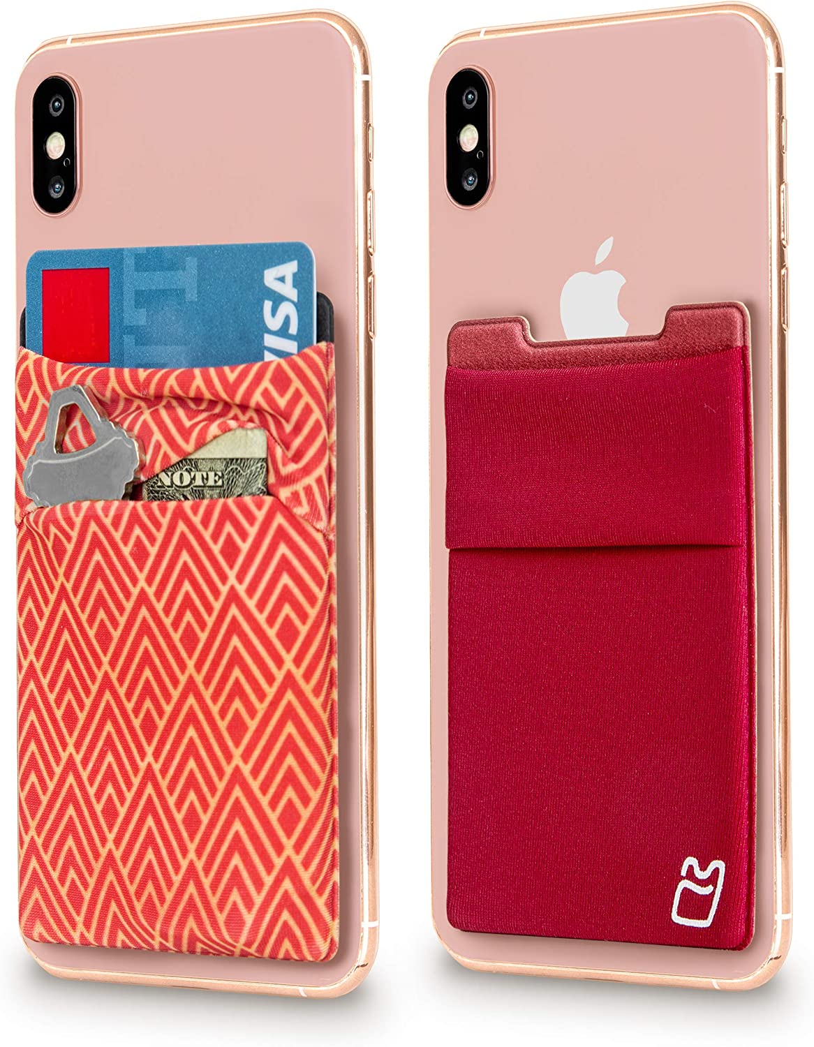 (Two) Stretchy Cell Phone Stick on Wallet Card Holder Phone Pocket for iPhone, Android and All Smartphones - Burgundy