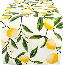 "DII Cotton Table Runner for Dinner Parties Summer BBQ & Outdoor Picnics, 14x108"", Lemon Bliss"