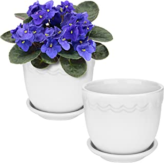 White Ceramic 4-Inch Scallop Design Succulent Planter Pots with Attached Saucers, Set of 2