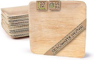 BIOZOYG Palmware Haute qualité d'assiette en Feuille de Palmier I 25 pièces d'assiettes Rectangle du Feuille Palmier 20 x ...