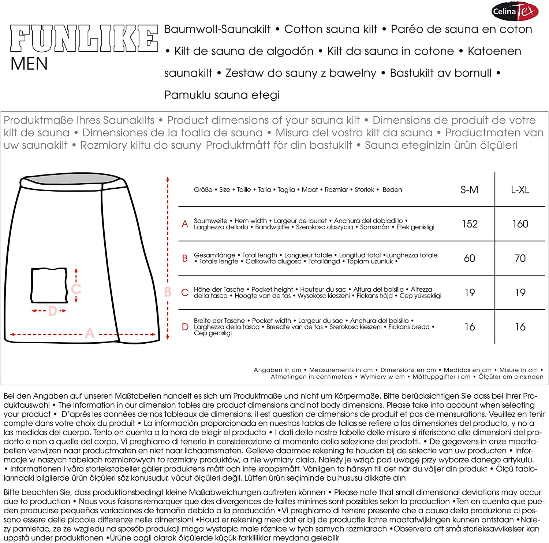 CelinaTex Funlike Jupe de Sauna Courte L//XL Mixte en Coton /éponge Bleu fonc/é