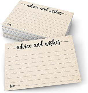 """321Done Advice and Wishes Cards (50 Cards) 4"""" x 6"""" Blank Well Wishes for Wedding, Bridal, Mr and Mrs, Retirement, Baby Shower - Words of Wisdom - Made in USA, Kraft Tan"""