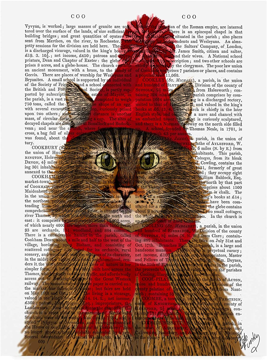 Trademark Fine Art Maine Coon Cat Red Hat by Fab Funky, 14x19