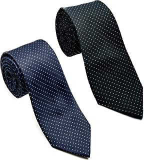 Luxeis Men Premium Neck Tie Combo (Black, Navy Blue; Free Size) (Pack of 2)