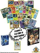 40 Pokemon Card Bundle Lot Featuring Eevee with 1 GX Eeveelution Plus 4-Pocket Eevee Binder - Foils - Includes Golden Groundhog Box!