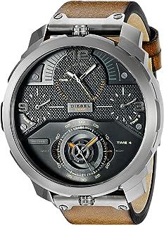 Diesel Men's Black Dial Leather Band Watch - DZ7359